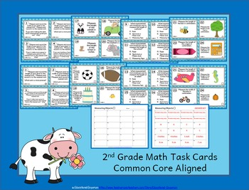 2nd Grade Math Task Cards: ALL Measurement & Data, MD Task Cards 2.MD Centers