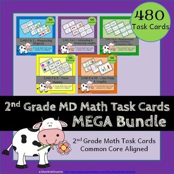 2nd Grade Math Task Cards: ALL Measurement & Data, MD Task