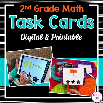 2nd Grade Math Task Cards (Digital & Printable)