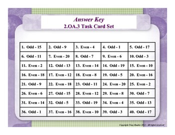 2nd Grade Math Task Cards - Odd Or Even Numbers 2.OA.3