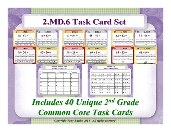2nd Grade Math Task Cards - Sums & Differences On A Number