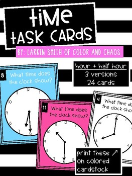 2nd Grade Math Task Cards - Time - Hour and Half Hour