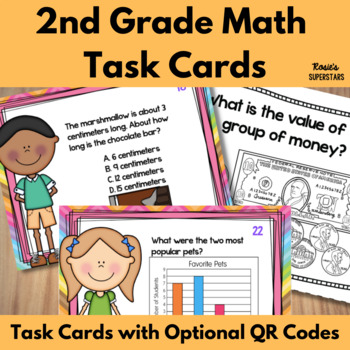 2nd Grade Math Task Cards With Optional QR Codes