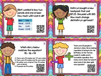 2nd Grade Math Test Prep Task Cards With Optional QR Codes