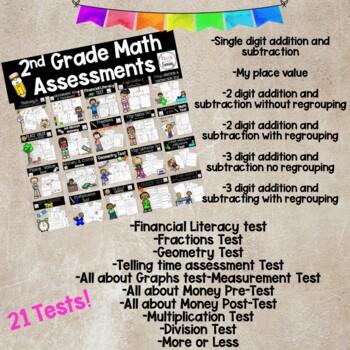 2nd Grade Math Tests - 1 Year Bundle