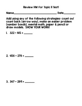 2nd Grade Math Topic 11 Test & Test Review Pack adapted from Envisions