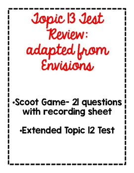 2nd Grade Math Topic 13 Test Pack adapted from Envisions