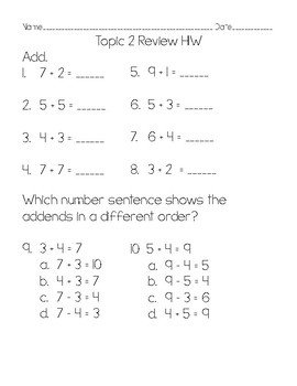 2nd Grade Math Topic 2 Test Pack & Review: adapted from Envisions