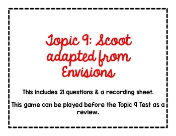 2nd Grade Math Topic 9 Scoot Review for Test adapted from Envisions