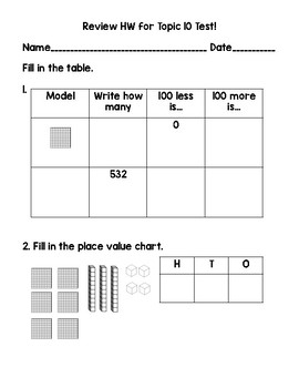 2nd Grade Math Topic 10 Test & Test Review Pack adapted from Envisions