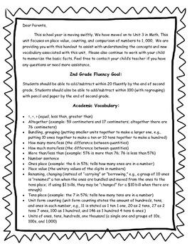 2nd Grade Math Unit 3 Parent Letter