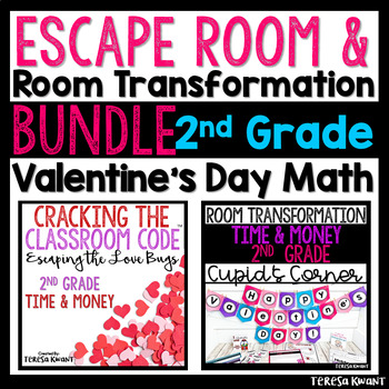 2nd Grade Math Valentine's Day Room Transformation and Escape Room Bundle