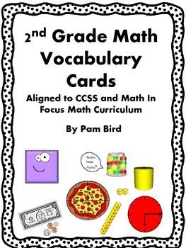 2nd Grade Math Vocabulary- Black and White