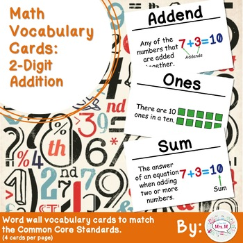 2nd Grade Math Vocabulary Cards: 2-Digit Addition