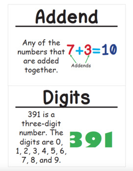 2nd Grade Math Vocabulary Cards: 2-Digit Addition (Large)
