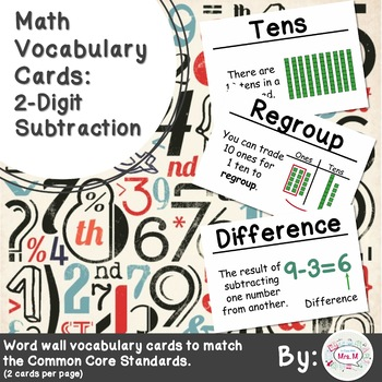 2nd Grade Math Vocabulary Cards: 2-Digit Subtraction (Large)