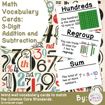 2nd Grade Math Vocabulary Cards: 3-Digit Addition and Subt