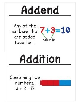 2nd Grade Math Vocabulary Cards: Basic Facts and Relationships (Large)