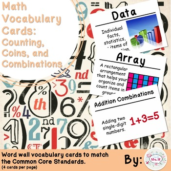 2nd Grade Math Vocabulary Cards: Counting, Coins, and Combinations
