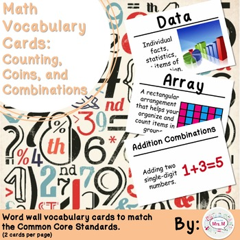 2nd Grade Math Vocabulary Cards: Counting, Coins, and Comb