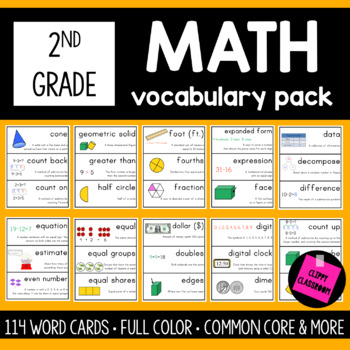 2nd Grade Math Vocabulary Cards {For The Whole Year} {Common Core Aligned}