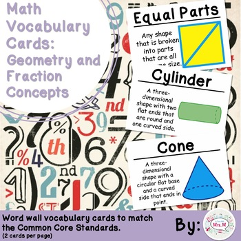 2nd Grade Math Vocabulary Cards: Geometry and Fraction Concepts (Large)