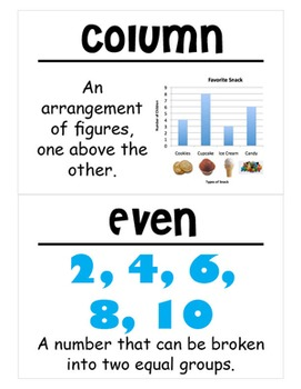 2nd Grade Math Vocabulary Cards: How Many Floors? How Many Rooms? (Large)
