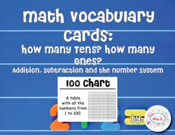 2nd Grade Math Vocabulary Cards: How Many Tens? How Many Ones?