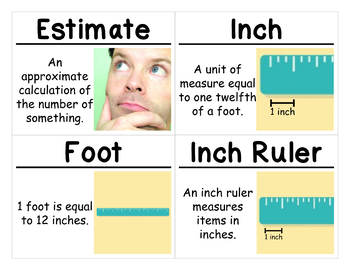 2nd Grade Math Vocabulary Cards: Length in Customary Units