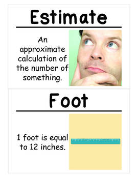 2nd Grade Math Vocabulary Cards: Length in Customary Units (Large)