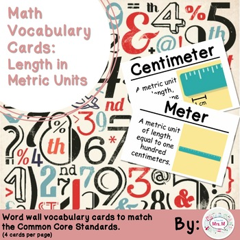 2nd Grade Math Vocabulary Cards: Length in Metric Units
