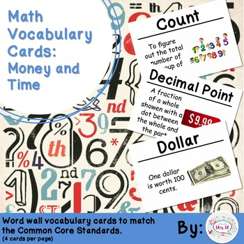 2nd Grade Math Vocabulary Cards: Money and Time