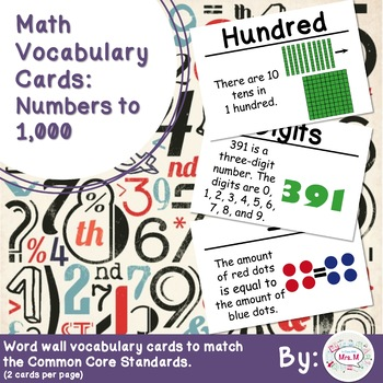 2nd Grade Math Vocabulary Cards: Numbers to 1,000 (Large)