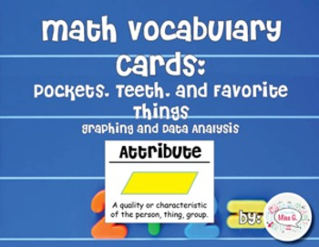 2nd Grade Math Vocabulary Cards: Pockets, Teeth, and Favorite Things