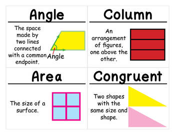 2nd Grade Math Vocabulary Cards: Shapes, Blocks, and Symmetry