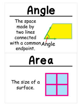 2nd Grade Math Vocabulary Cards: Shapes, Blocks, and Symmetry (Large)