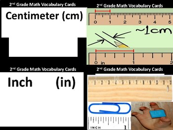 2nd Grade Math Vocabulary Picture Match Cards-Measurement