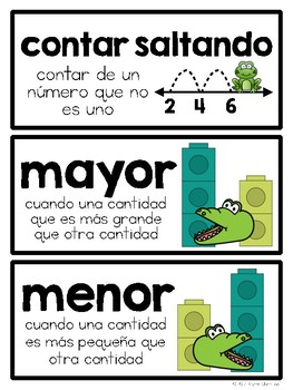 2nd Grade Math Vocabulary in Spanish / Tarjetas de vocabulario para matemáticas