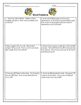 2nd Grade Math Word Problems