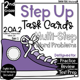 2nd Grade Math Word Problems Task Cards Multi-Step 2.OA.2 Addition Subtraction