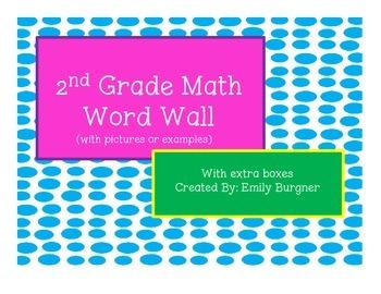 2nd Grade Math Word Wall Words