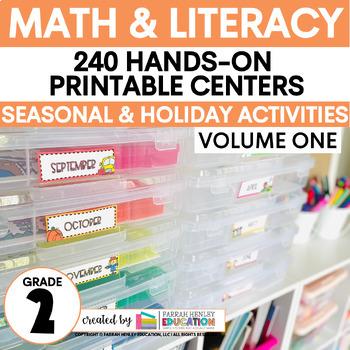 #SPRINGSAVINGS Second Grade Centers Math and ELA -- Year Long GROWING BUNDLE