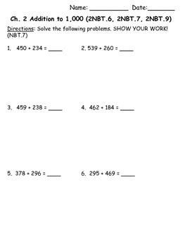 2nd Grade Math in Focus Chapter 2 Test