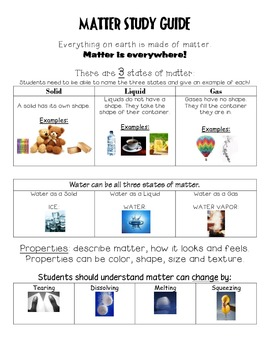 2nd Grade Matter Study Guide Science