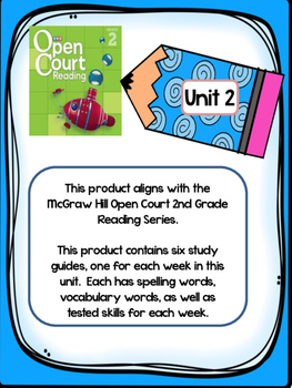 2nd Grade McGraw Hill Open Court Unit 2 Weekly Study Guides