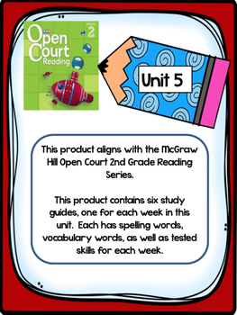 2nd Grade McGraw Hill Open Court Unit 5 Weekly Study Guides