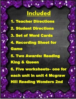 2nd Grade McGraw Hill Reading Wonders High Frequency Unit 4
