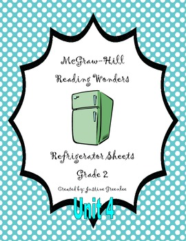 2nd Grade McGraw-Hill Reading Wonders Refrigerator Sheets for Unit 4