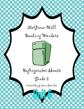 2nd Grade McGraw-Hill Reading Wonders Refrigerator Sheets for Unit 6