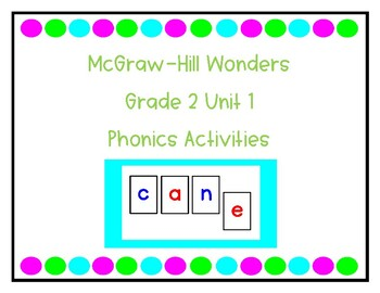 2nd Grade McGraw Hill Reading Wonders Unit 1 Phonics Resources